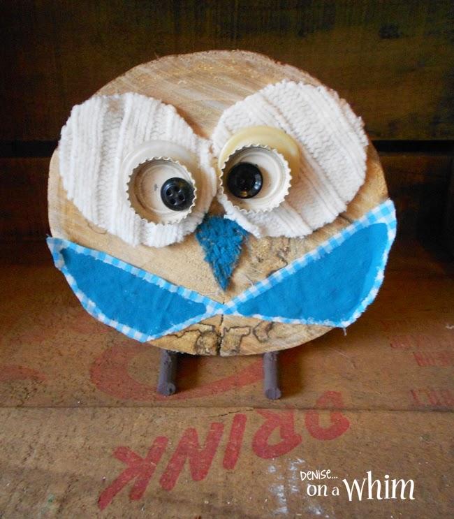 Adorable Log Slice Owl! | Denise on a Whim