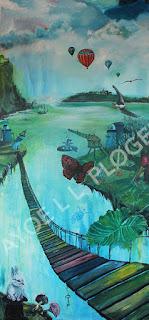 kunst, maleri, fantasi, farverig, art,galleri, lutballon,kanin,sommerfugl, børn