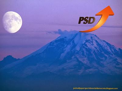 Fundo de tela do Partido Social Democrata. Logotipo do PSD emblema Seta PSD em fundo Montanha Azul Lua Ascendente
