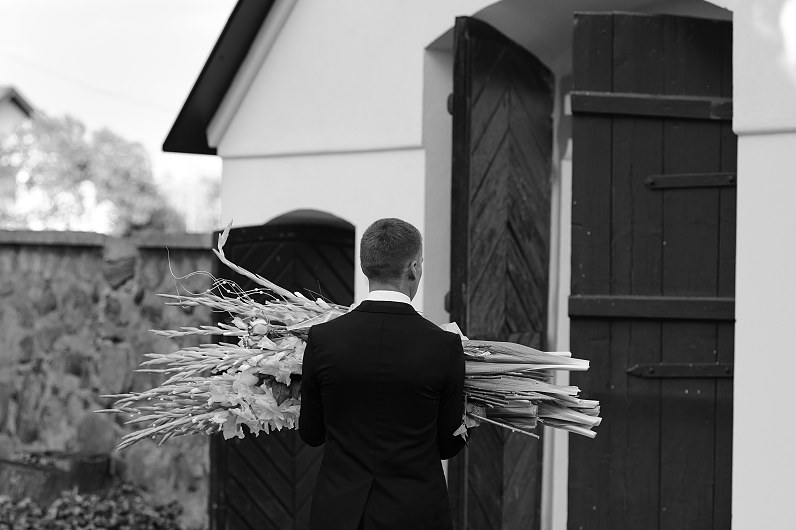 gėlės per vestuves