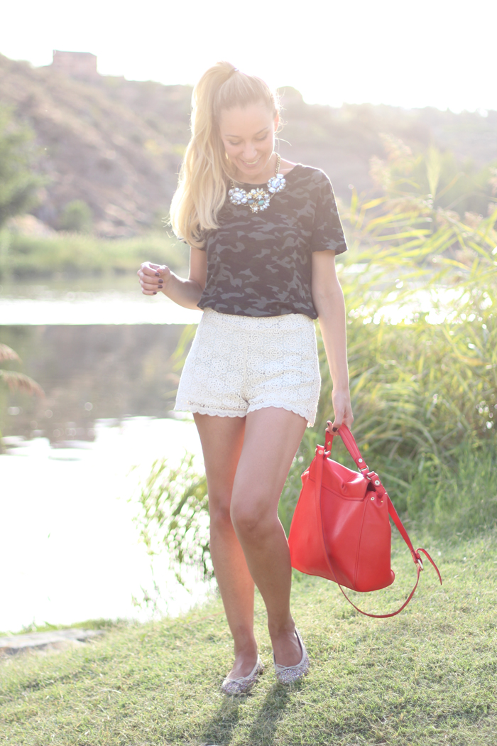 Camo Tee, Camo trend, Casual look, lace shorts, Tajo, Toledo, fashion blogger, street style, my showroom, summer 2012, outfit