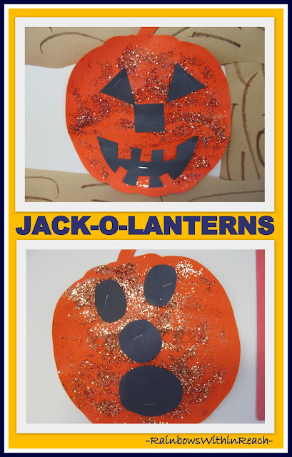 photo of: Simple Jack-o-Lanterns with GLITTER! (Fall RoundUP via RainbowsWithinReach)