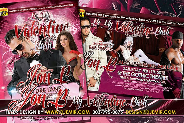 Jon B Valentine's Day Concert Party Flyer Design Denver