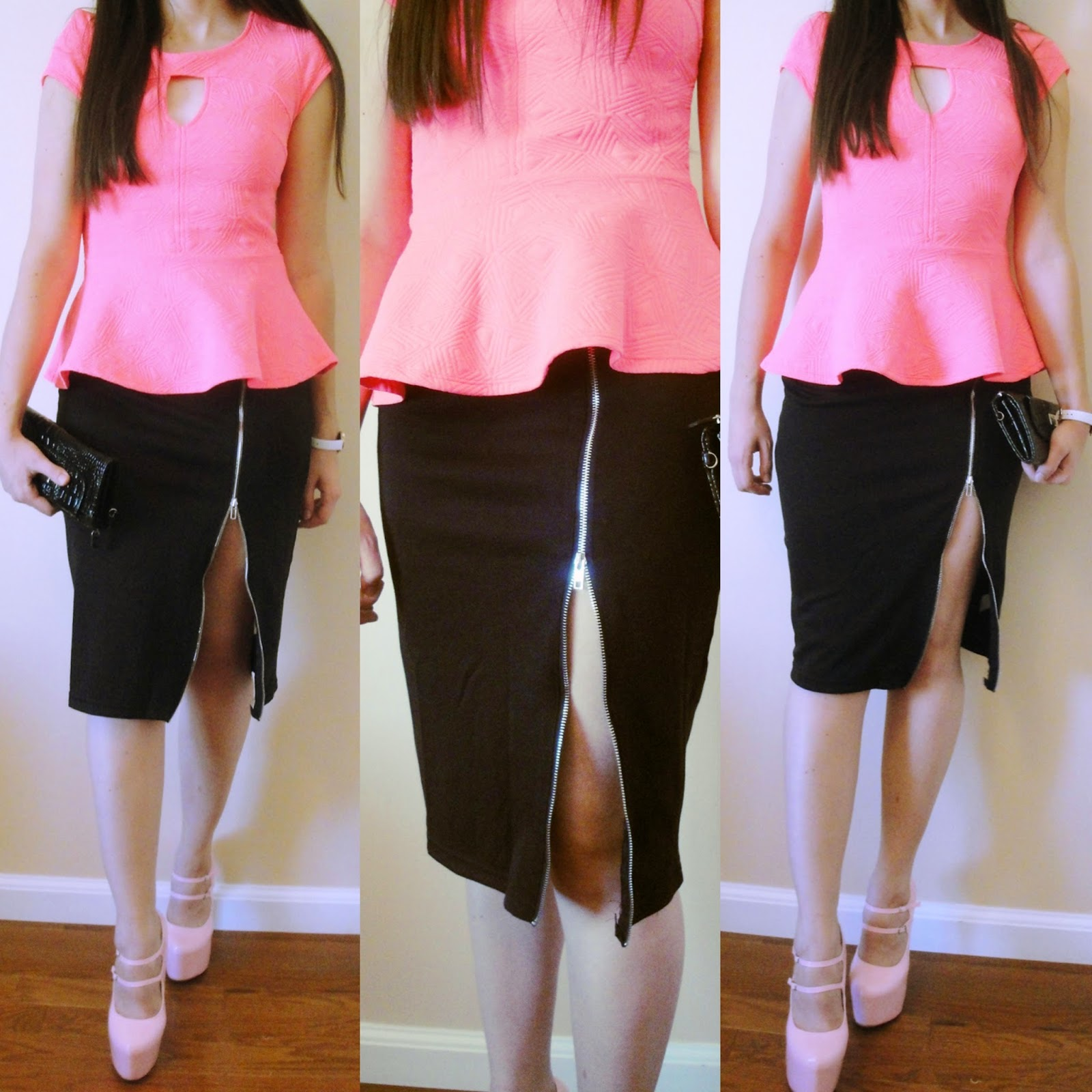 front side zipper skirt, zipper skirt, black five outfit, blackfive fashion, pink peplum top outfit, peplum top, fashion,
