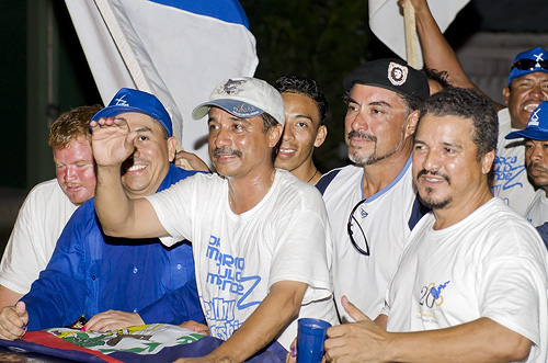 PUP entourage celebrate victory in Orange Walk East elections, March 7, 2012.