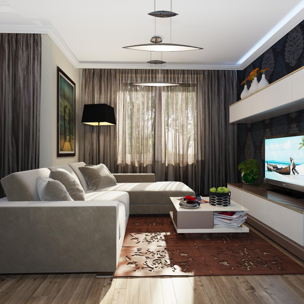 Дизайн гостиной с угловым диваном 20 метров фото