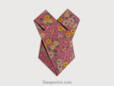 Cách gấp, xếp áo bơi liền mảnh bằng giấy origami - Video hướng dẫn xếp hình quần áo - How to fold a Swimsuit