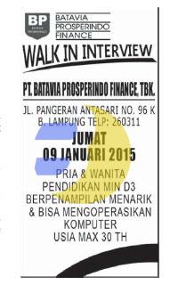 Lowongan Kerja PT. Batavia Prosperindo Finance, Tbk