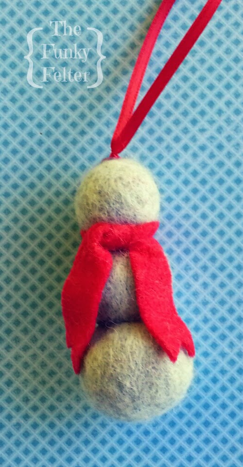 felted wool ball handmade snowman ornament by the funky felter