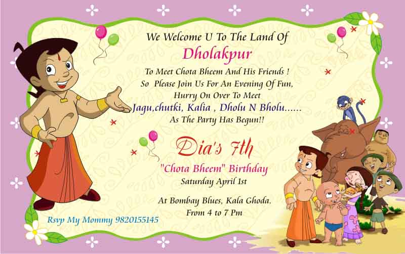 Birthday party invitation card invite personalised return gifts chota bheem birthday party invitation theme mumbai stopboris Image collections