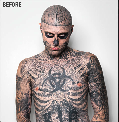 Cover Tatto on Zombie Tattoo Boy Represents Dermablend Tattoo Cover Up Makeup