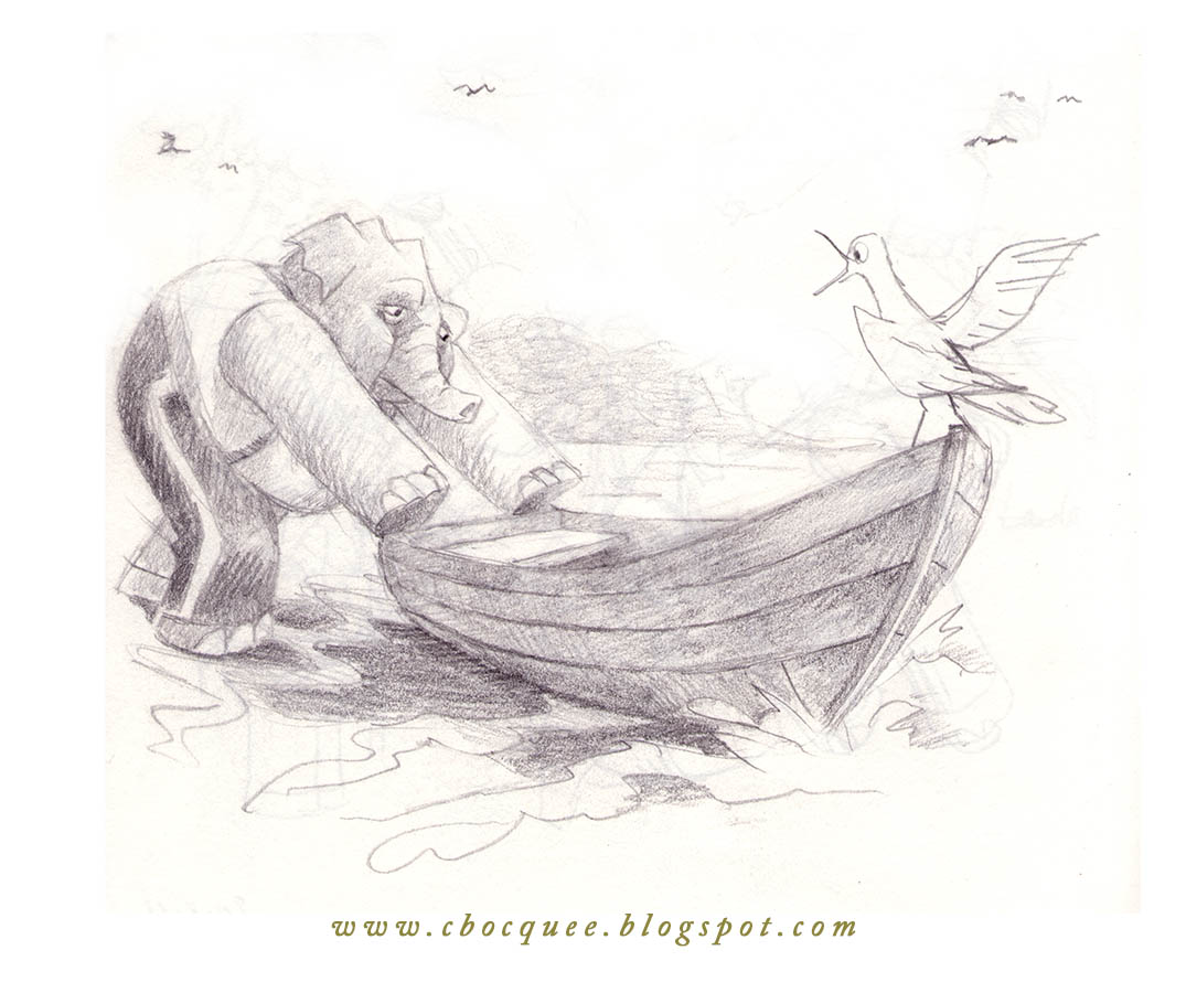 Pencil illustration of elephant character setting off in rowboat