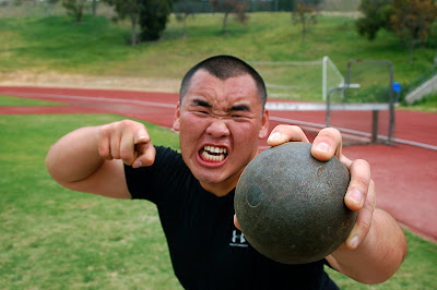 A shotputter of ANA's track & field team