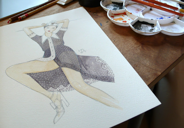 kitty wong watercolor meadham kirchhoff polkadot dress drawing