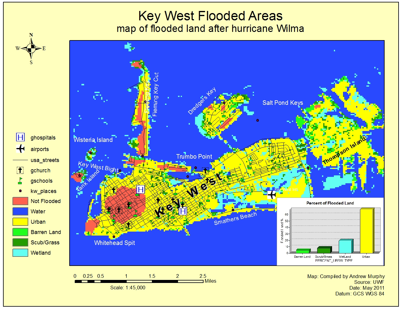 Applications In GIS Hurricane A Study Of Wilma Effects In Key - Florida map elevation