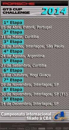 PORSCHE GT3 - Calendário