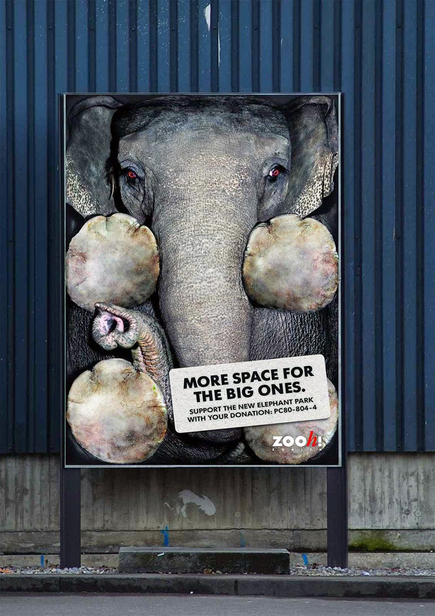 Zurich Zoo: More Space For The Big Ones - 33 Powerful Animal Ad Campaigns That Tell The Uncomfortable Truth