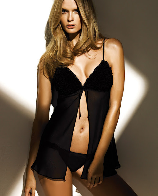 Julia Stegner  sexy in black lingerie