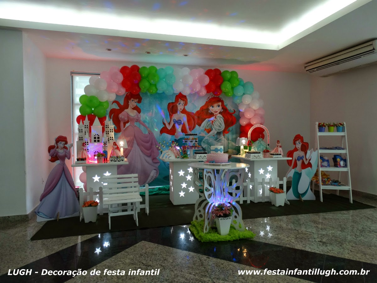 tema de aniversário infantil - mesa provençal temática Ariel
