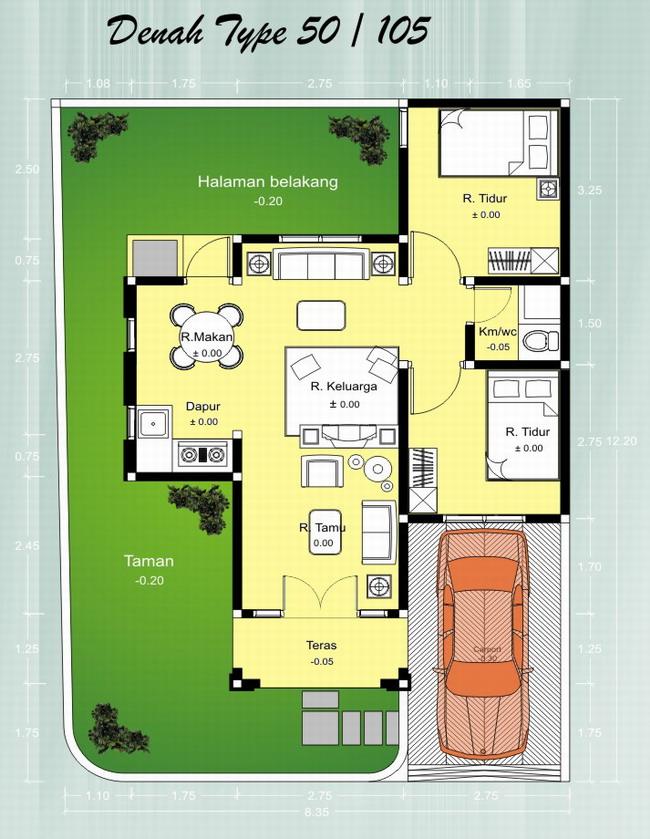 Denah Type 50 Rumah Minimalis