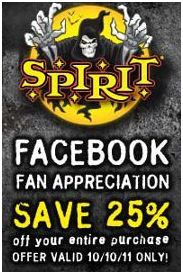 today only you can score 25 off your entire purchase at the spirit halloween store just head on over to their facebook page and become a fan and youll be