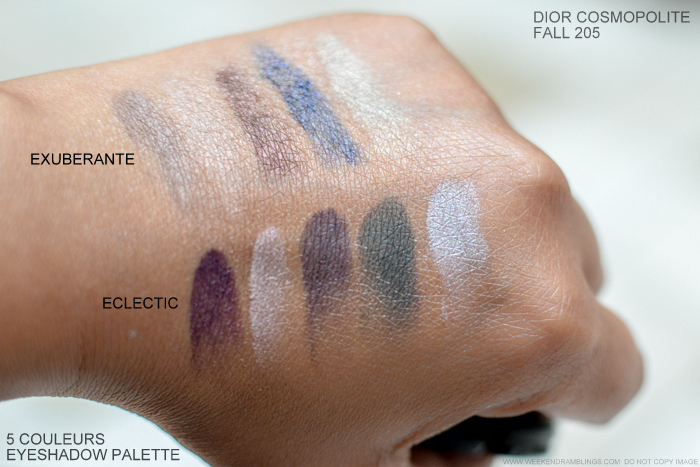 Dior Cosmopolite Autumn Fall 2015 Makeup Collection Swatches 5 Couleurs Eyeshadow Palettes 866 Exuberante 766 Eclectic