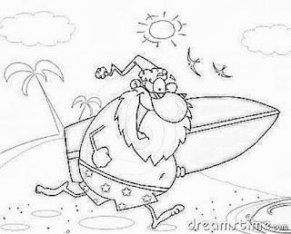 desenho papai noel surfista