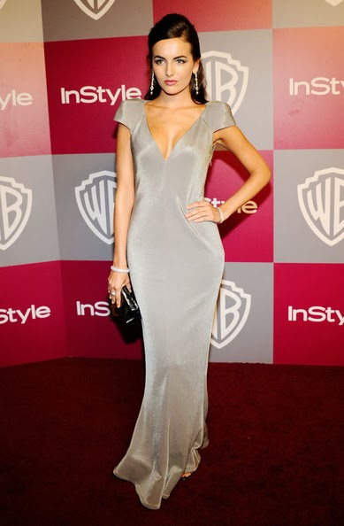Camilla Belle in a slinky floor-length Giorgio Armani silver gown with sculpted shoulders and a plunging neckline at the 2011 InStyle And Warner Bros. 68th Annual Golden Globe Awards post-party held at The Beverly Hilton hotel on January 16, 2011 in Beverly Hills, California.
