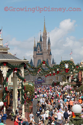Main Street at Disney World decorated for Christmas
