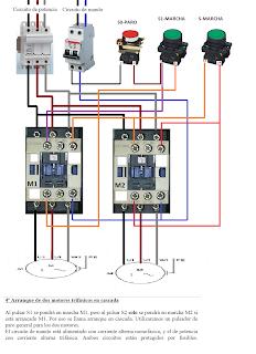 Arranque de dos motores en cascada trifasicos esquemas for Motor para cascada
