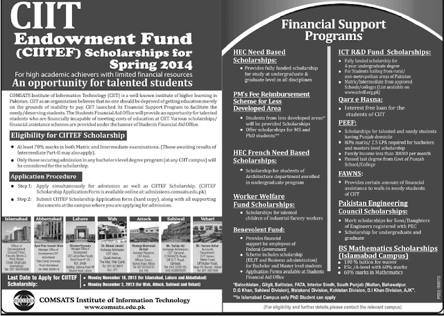 CIIT Endowment Fund Scholarships for Spring 2014