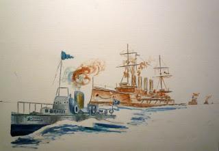 Pintura del primer barco propulsado por turbina de vapor - Primera sesión