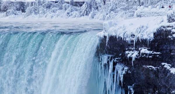 Niagara falls is frozen and tourists are flocking to see it
