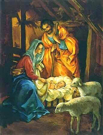 Dibujo de José y María junto al pequeño Jesús para