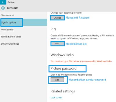 Cara Memberi Pin, Picture, dan Password Windows 10