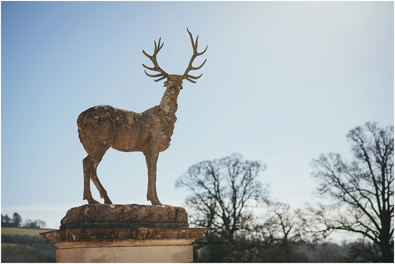 Stone stag at entrance to Pynes House