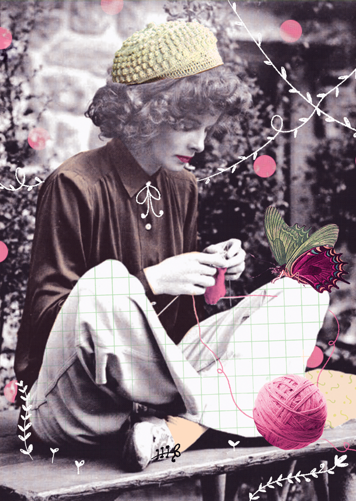 katharine hepburn, knitting, elcosturero, collage, ilustracion