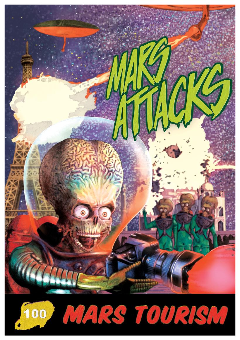 Ilustración- poster homenaje mars attacks