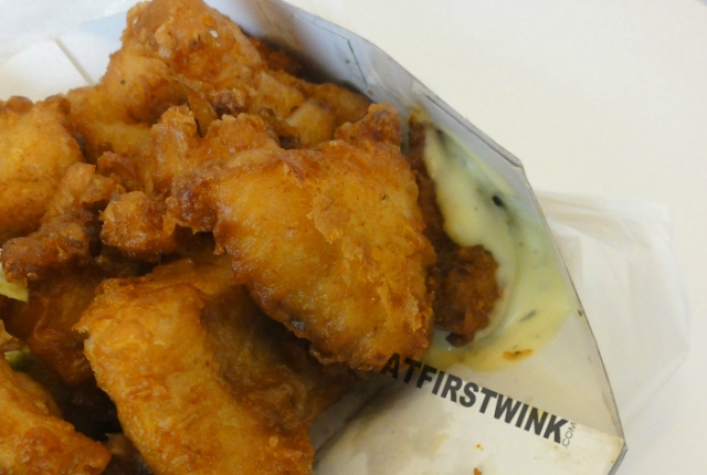 Kibbeling (pieces of fried fish) from Royal Fish, Markthal in Rotterdam