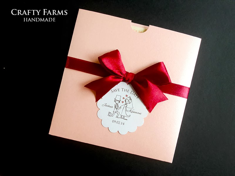 Pink pocket card with maroon ribbon, cartoon round scallop save the date tag