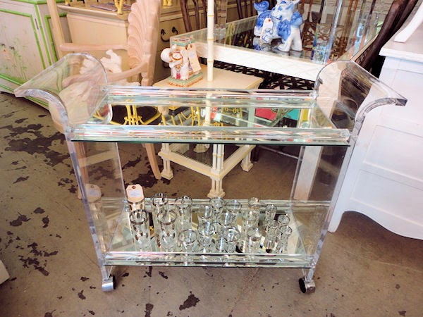 vintage lucite bar cart