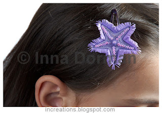 Starfish hairpin made with paper quilling