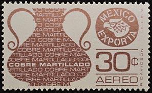 Con muchas minas de cobre, México desarrolló una red de fundiciones para asegurarse la producción de manufacturas, como se observa en el jarrón de la estampilla de 30 centavos