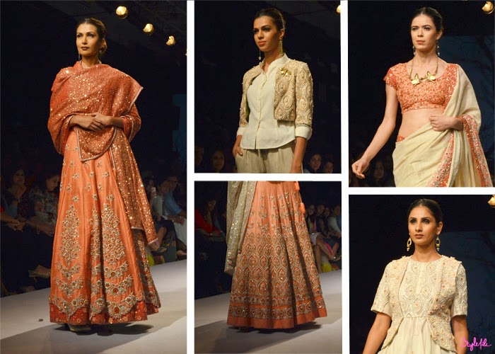 Models showcase sequin crystal and bead embellishment on anarkali lehengas and sarees for designer Soumitra Mondal at Lakme Fashion Week Summer Resort 2015 in Mumbai