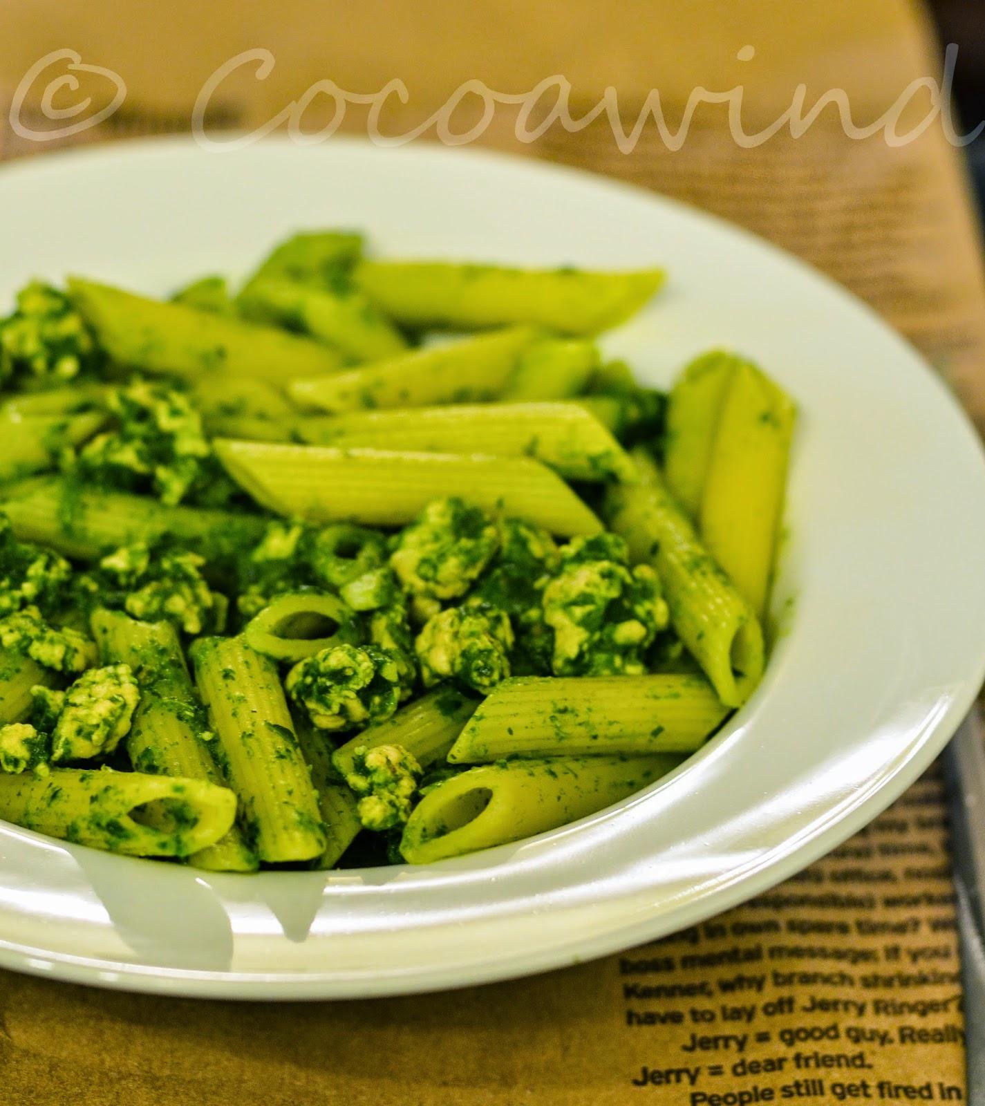 Palak Keema Pasta - Pasta cooked in Ground Chicken-Spinach Sauce
