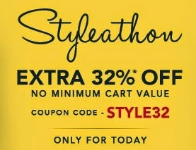 Jabong: Flat 32% Extra Discount on Clothing, Footwear & Accessories (No Minimum Purchase Condition) Valid for Today Only