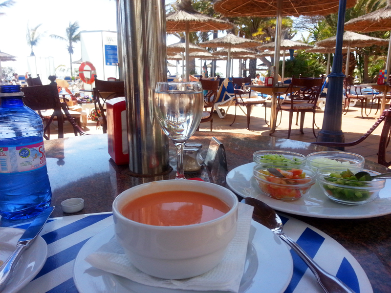 Lanzarote lunch gazpacho parasoll