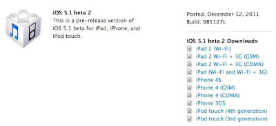 iOS 5.1 beta 2 build 9B5127c