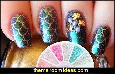 Nail Art stickers -  Pearls Decoration  Nail Art = ocean themed nail design