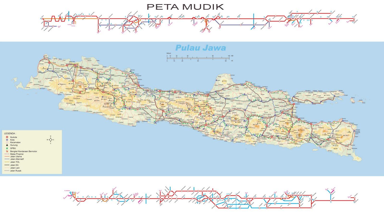 Peta Kota Mudik Pulau Jawa